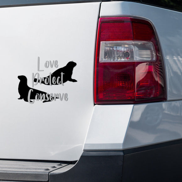 Seal and Sea Lion - Layered Love Protect Conserve - Vinyl Decal - Animals Anonymous Apparel