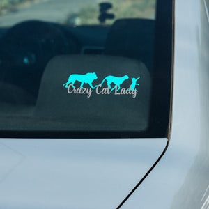 Crazy Cat Lady - Lion Cheetah Cat - Vinyl Decal - Animals Anonymous Apparel