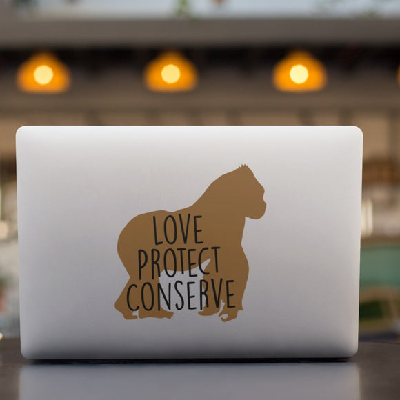 Gorilla - Layered Love Protect Conserve - Vinyl Decal - Animals Anonymous Apparel