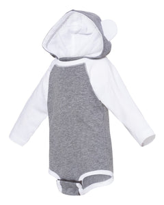 Screen Printed Infant Character Hooded Long Sleeve Bodysuit with Ears - Choose a Print - Animals Anonymous Apparel