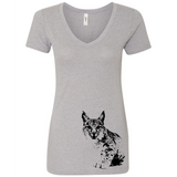 Bobcat - Women's V-Neck Tee - Animals Anonymous Apparel