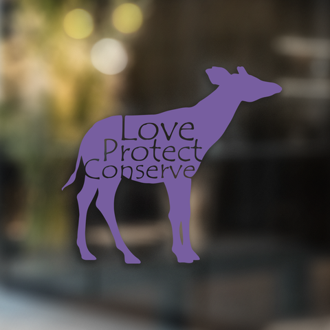 Love Protect Conserve Okapi - Decal - Animals Anonymous Apparel