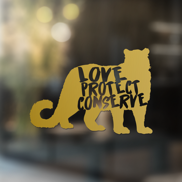 Snow Leopard - Love Protect Conserve - Vinyl Decal - Animals Anonymous Apparel