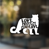 Love Protect Conserve Snow Leopard - Decal - Animals Anonymous Apparel