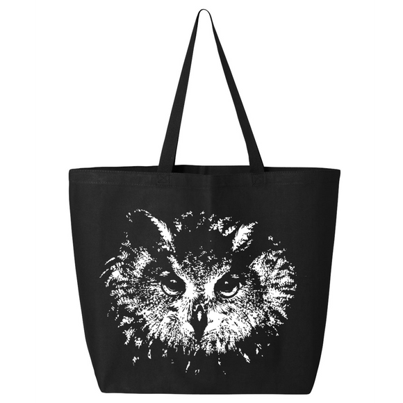 Owl Eyes - Canvas Bag (2 Size Options) - Animals Anonymous Apparel