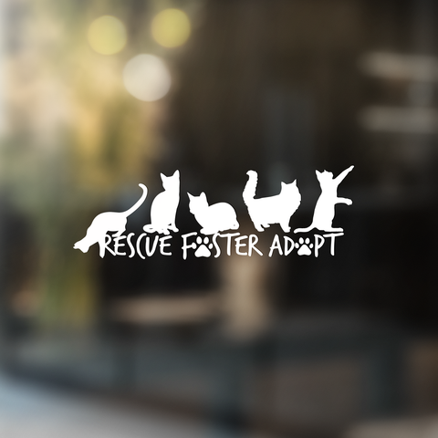 Rescue Foster Adopt - Vinyl Decal - Animals Anonymous Apparel