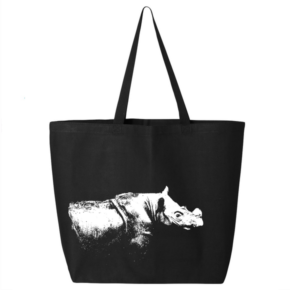 Sumatran Rhino - Canvas Bag (2 Size Options) - Animals Anonymous Apparel