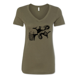 Two Elephants - Women's V-Neck Tee - Animals Anonymous Apparel
