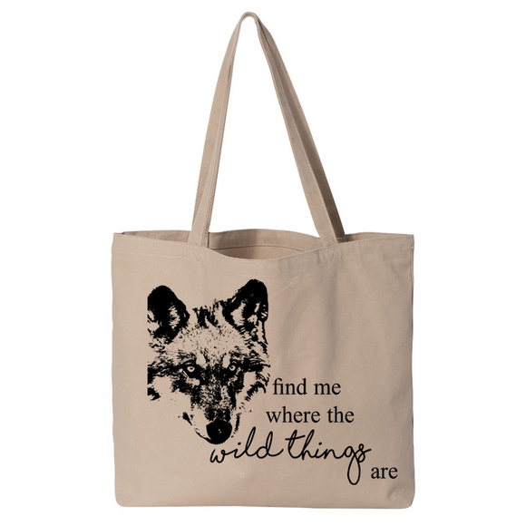 Wild Thing Wolf - Canvas Bags (2 Sizes) - Animals Anonymous Apparel