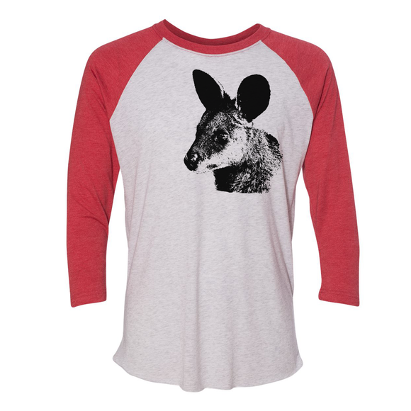 Wallaby - Unisex Three-Quarter Sleeve Raglan - Animals Anonymous Apparel