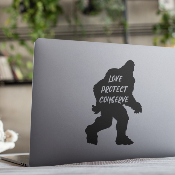 Sasquatch - Love Protect Conserve - Vinyl Decal - Animals Anonymous Apparel