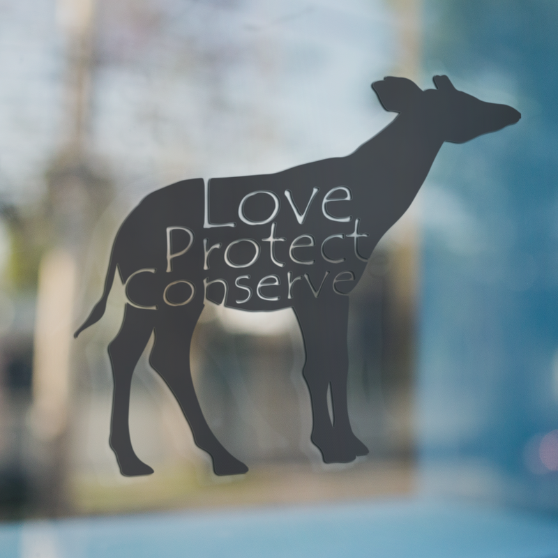 Okapi - Love Protect Conserve - Vinyl Decal