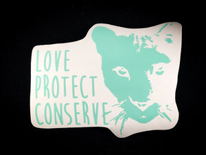 Cougar Face- Love Protect Conserve - Vinyl Decal