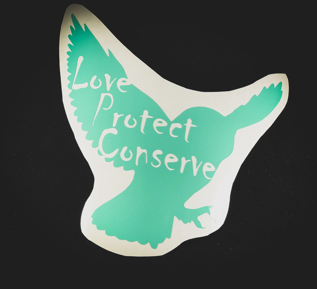 Owl - Love Protect Conserve - Vinyl Decal