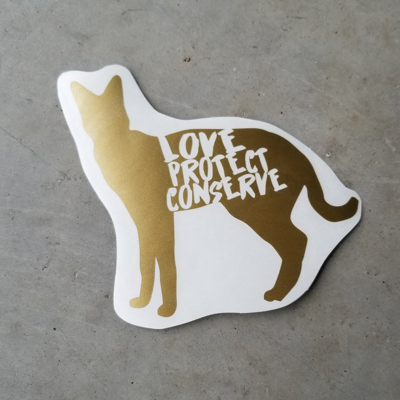 Serval - Love Protect Conserve - Vinyl Decal