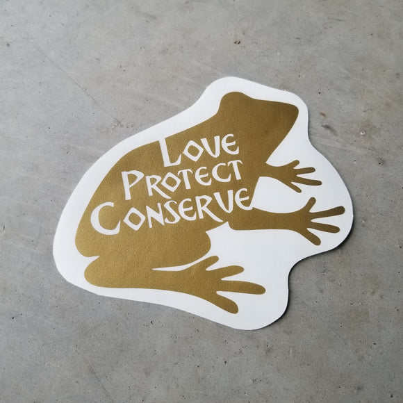 Frog - Love Protect Conserve - Vinyl Decal - Animals Anonymous Apparel