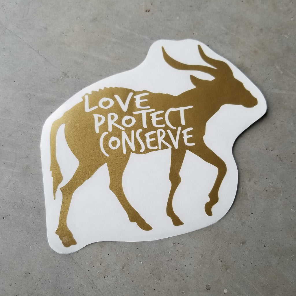 Bongo - Love Protect Conserve - Vinyl Decal