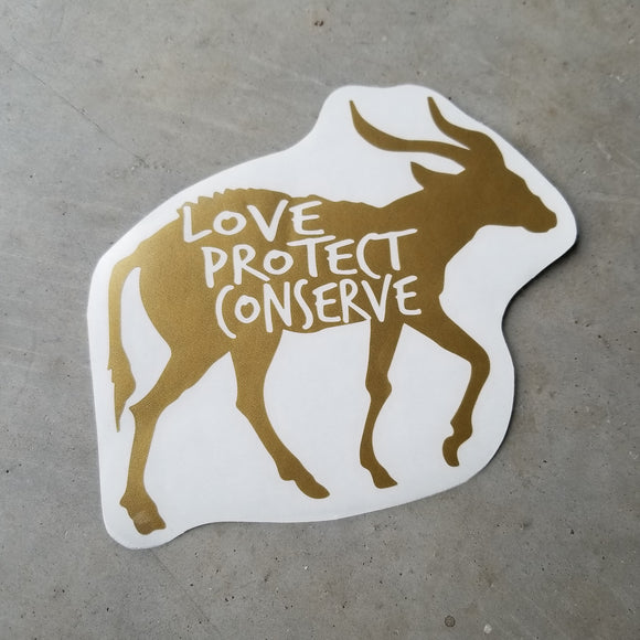 Bongo - Love Protect Conserve - Vinyl Decal - Animals Anonymous Apparel