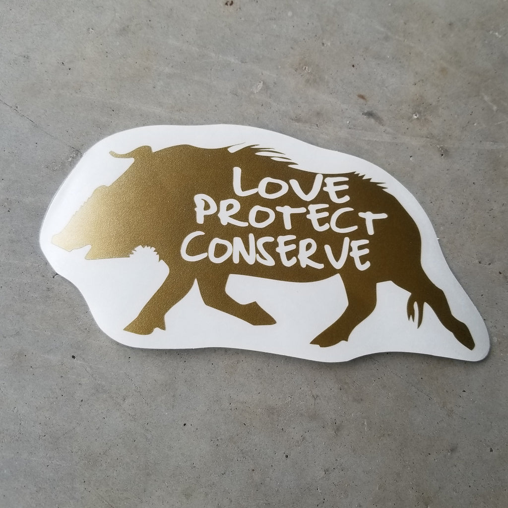 Red River Hog - Love Protect Conserve - Vinyl Decal