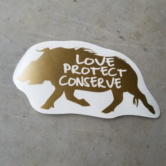 Red River Hog - Love Protect Conserve - Vinyl Decal - Animals Anonymous Apparel