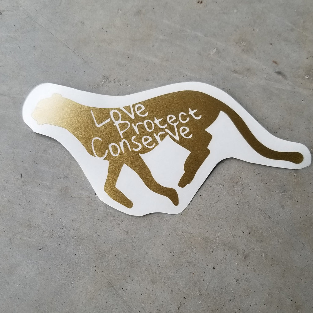 Cheetah - Love Protect Conserve - Vinyl Decal