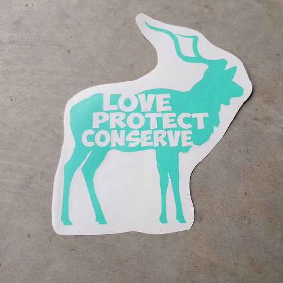 Kudu - Love Protect Conserve - Vinyl Decal - Animals Anonymous Apparel