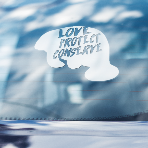 Manatee - Love Protect Conserve - Vinyl Decal - Animals Anonymous Apparel