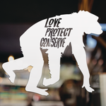 Chimp - Love Protect Conserve - Vinyl Decal - Animals Anonymous Apparel