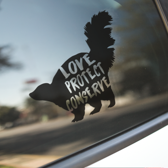 Skunk - Love Protect Conserve - Vinyl Decal - Animals Anonymous Apparel