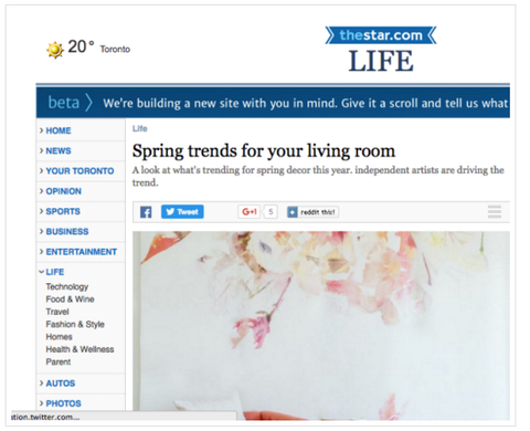 Spring Trends for your Living Room // Toronto Star Shibang Designs
