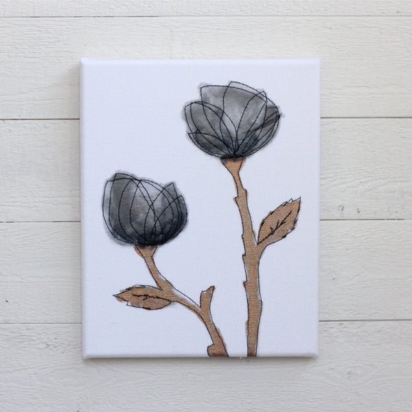 "Grey & Copper Roses 10"" x 12"""