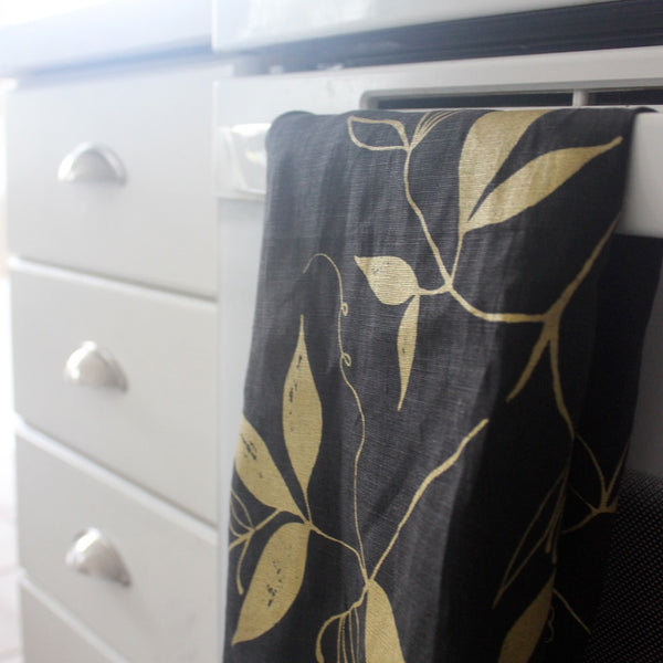 Tea Towel - Black & Gold