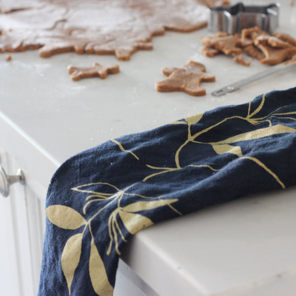 Linen Tea Towel - Navy & Gold