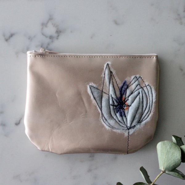 Leather Coin Purse - Copper & Steel Blue