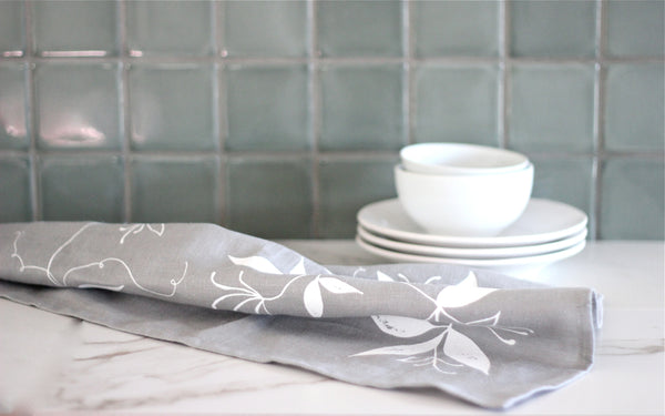 Grey & White Linen Tea Towel
