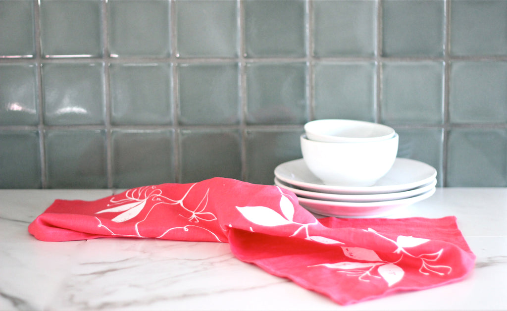 Coral & White Linen Tea Towel