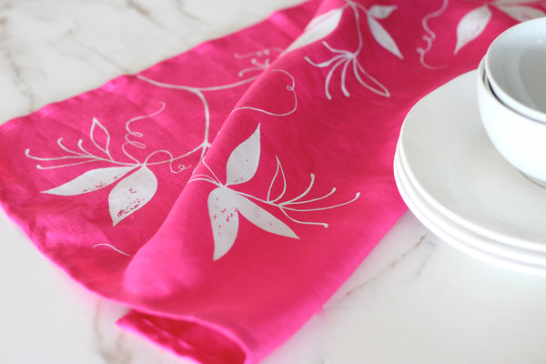 Hot Pink & White Linen Tea Towel