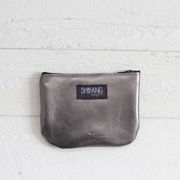 Leather Coin Purse - Pewter & Hot Pink
