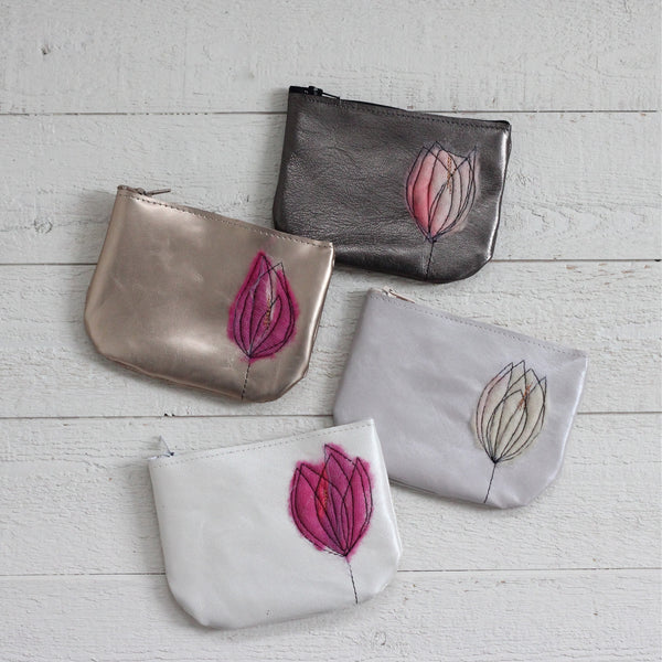 Leather Coin Purse - Pewter & Blush