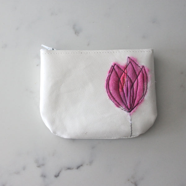Leather Coin Purse - Pearl White & Hot Pink