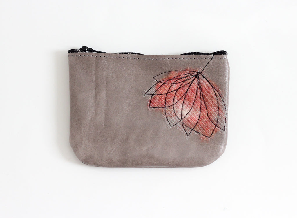 Leather Coin Purse - Coral