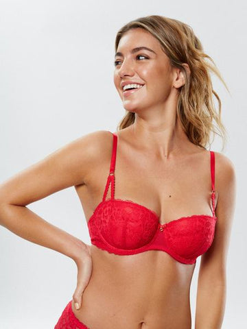 Sexy Lace Balcony Bra Red