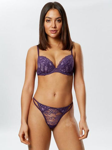 Sexy Lace Plunge Bra Lilac/Fig