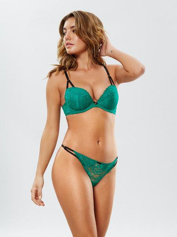 Sexy Lace Plunge Bra Green