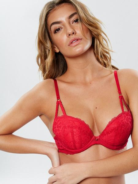 Sexy Lace Plunge Bra Red