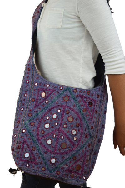 Cross Body College Bag - Purple/Pink