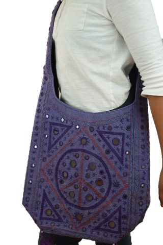 Cross Body College Bag - Purple/Purple