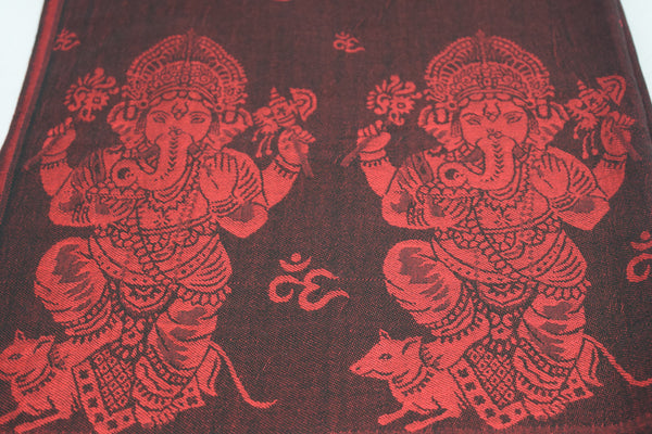Spritual Pashmina - ॐ and Ganesh Red