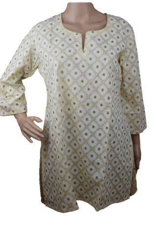 Cotton Yoga Tunic Beige with Gold Print
