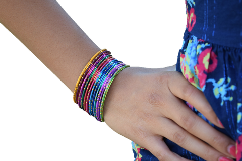 Glittery Multicolored Bracelets Set